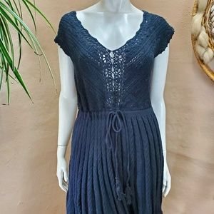 Black Crochet Sheer Knee Length Swing Dress Moda